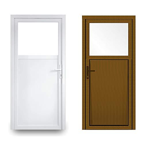 EcoLine Nebentür - Nebeneingangstür - Tür - 2-Fach, 1/3 Glas, 2/3 Füllung, außenöffnend innen: weiß/außen: Golden Oak BxH: 1100 x 1900 mm DIN Rechts