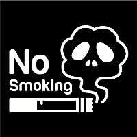 imoninn 禁煙ステッカー(ノースモーキング/No Smoking) カッティングステッカー 横幅10cm 【どくろ】(白色)