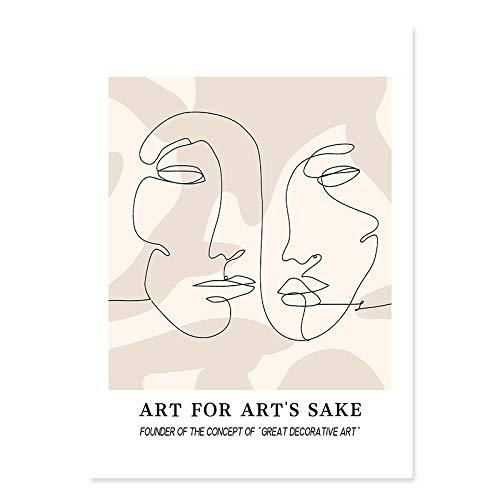 Moda abstracta matisse dibujo lineal planta hoja cartel arte impresión hogar sin marco lienzo decorativo pintura A2 50x70cm