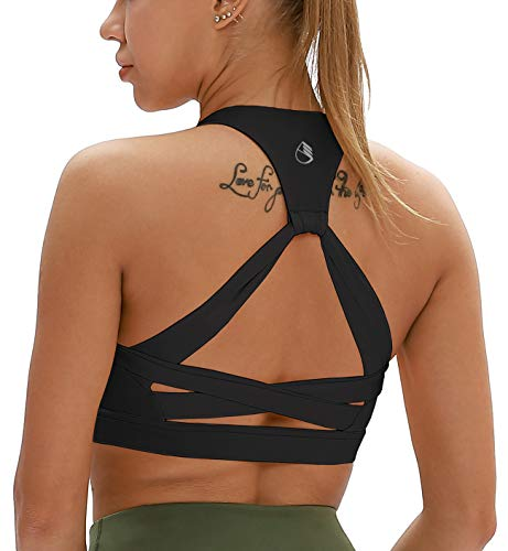 icyzone Workout Sports Bras for Women - Fitness Athletic Exercise Running Bra, Activewear Yoga Tops (M, Black)