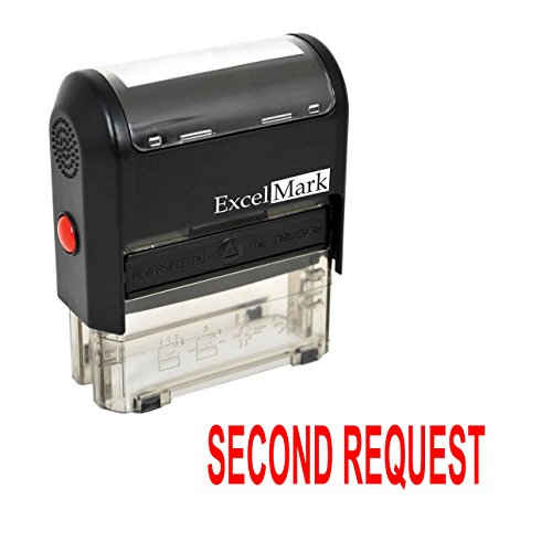 SECOND REQUEST Self Inking Rubber Stamp - Red Ink (42A1539WEB-R)