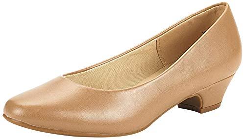 DREAM PAIRS Women s Mila Nude Pu Low Chunky Heel Pump Shoes Size 10 M US