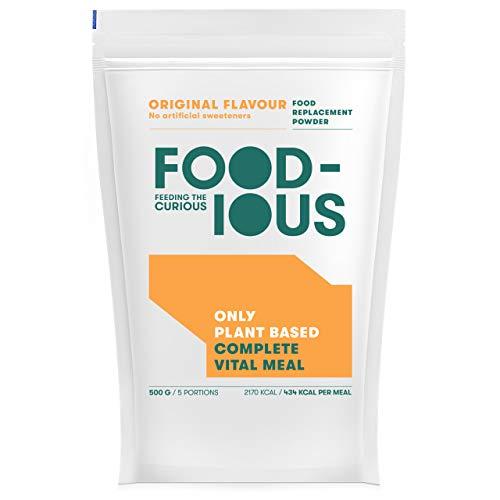 FOODIOUS Original Eiweißpulver-100% Vegan-Ideal als Mahlzeitersatz oder Diät Shake-Only 2g of Sugars per Meal-Frühstückspulver 1kg = 10 Mahlzeiten-Premium Zutaten- Low in Zucker Protein Pulver