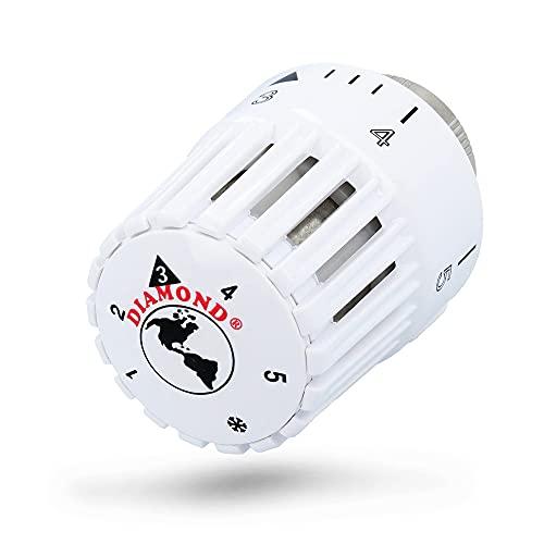 DIAMOND® Heizkörper Thermostatkopf 400 M30 x 1,5 Weiß Thermostat Heizung 6,5-28 °C | Thermostatventile Heizkörperthermostat Heizkörper Ventil Adapter Heizungsventil Heizungsthermostat Ventilaufsatz