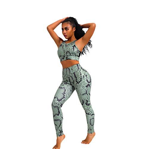 Serpent Ensemble Legging De Sport Femme Fitness POPLY Jogging Pantalon Femme Taille Haute Pas Cher Tailleur Femme Ensemble Pantalon Chic Pantacourt Ete Stretch Yoga Legging Femme Sexy Moulant Top+Pant