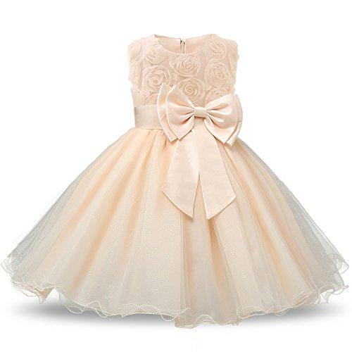 NNJXD Vestido de Fiesta de Princesa con Encaje de Flor de 3D sin Mangas para Niñas Talla(110) 2-3 Años Amarillo