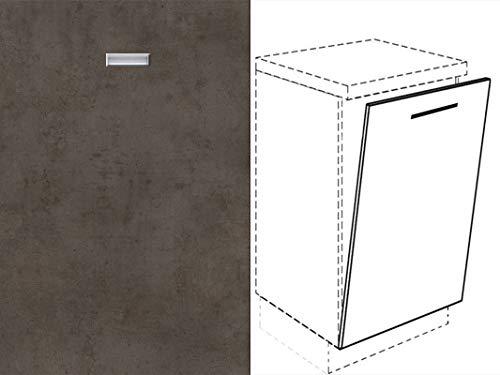 Premium-Ambiente FRT277 Unterschrank Front für Geschirrspüler eingelassener Handgriff FE (Breite 45cm-vollintegriert, 01 Concrete dunkelgrau)