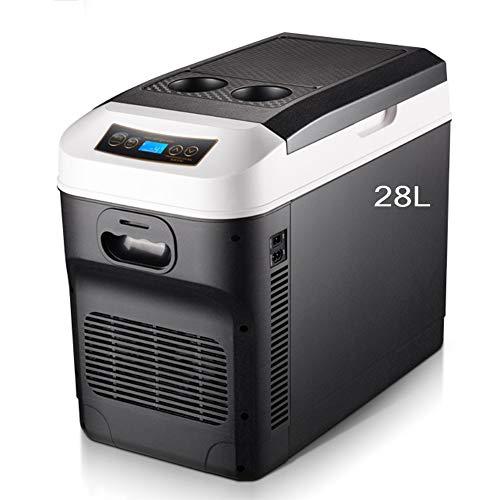 MiduoHu Control de Recorrido Caliente Frigorífico Pantalla Digital de Temperatura/fría del refrigerador del Coche eléctrico Nevera portátil congelador 28L 12V 24V 220V, para Coche Camión Camper Viaje