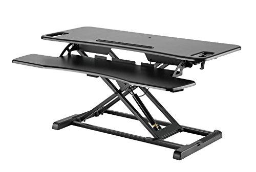 Exeta Höhenverstellbarer Steh-Sitz Tischaufsatz Schreibtisch. (Model 2020) Höhenverstellbarer Schreibtisch // in schwarz