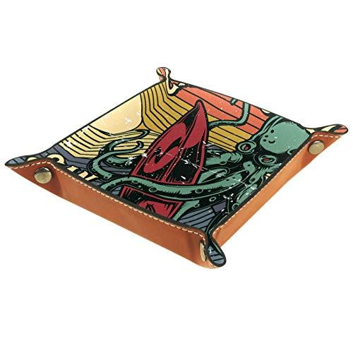 Caja de almacenamiento pequeña, bandeja de valet para hombre,surf ,Organizador de cuero para llaves de caja de monedas