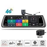 SZKJ K920 10' pantalla completa 4G táctil IPS especial para salpicadero de coche espejo de visión trasera con navegación GPS ADAS monitor remoto Bluetooth WIFI APP Android 5.1 lente dual FHD 1080P