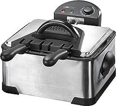Clatronic FR 3195 dubbele koelzone friteuse met 2 kleine frituurmanden en een grote, 4 liter, 2000 watt, inox, zilver, zwart