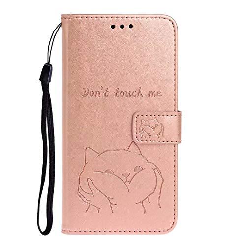 Funda para Samsung Galaxy A21s, a prueba de golpes, de piel sintética, con tapa para teléfono móvil, diseño de perro con cierre magnético, carcasa protectora de TPU con soporte para tarjetas para Samsung Galaxy A21s, oro rosa, Samsung Galaxy A21s