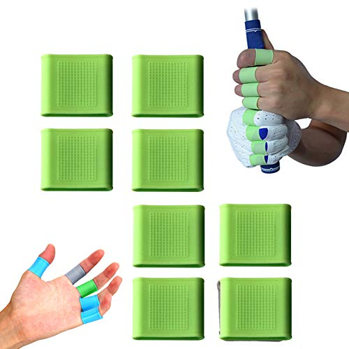 Golf Finger Sleeves Cots Silicone Braces Value 8 Pcs Set Gel Protector Support, Non-Slip Wearproof Reduce Hand Injury for Golfer Basketball Baseball Blowing Gym Sports (Green, Large)