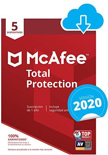McAfee Total Protection 2020 | 5 Dispositivos | 12 Meses | PC/Mac/Android/Smartphones | Código de activación enviado por email