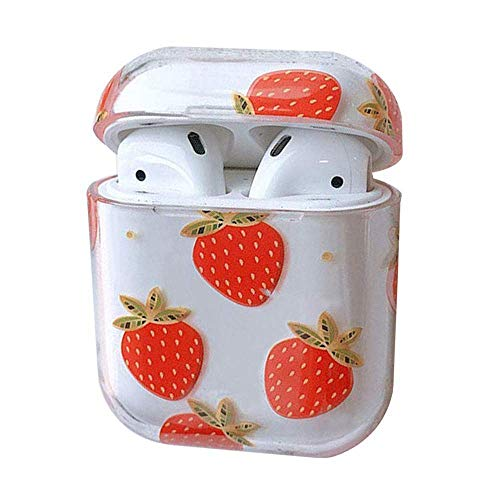 SevenPanda AirPods Hülle, Süß Klar Glatt PC [Kein Staub] Stoßfeste Hülle für Apple Airpods 2 & 1, Kawaii Fun Tasche für Mädchen Kids Teens (Erdbeere)