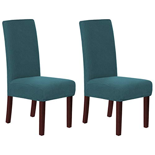 H.VERSAILTEX Stretch Dining Chair Covers Set of 2 Chair Covers for Dining Room Parsons Chair Slipcover Chair Protectors Covers Dining, Feature Textured Checked Jacquard Fabric, Deep Teal