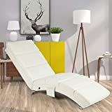 YOLENY Synthetic Leather Chaise Lounge with Massage Function,Massage Chair (White)