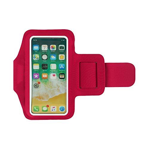 Fascia Sportiva da Braccio, Portacellulare per Correre & Esercizi, Porta Cellulare Braccio per iPhone 11 PRO Max/XS Max/X/XR/8 Plus/8/7, Galaxy S10/S9 Plus/Huawei P20 PRO. (ROSSO)