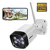 Cámara de Vigilancia WiFi SriHome SH035, Cámara IP 1296P Exteriores, Cámara de Seguridad con Visión Nocturna, Impermeable IP66, Detección de Movimiento, Audio Bidireccional, Soporta Android iOS PC