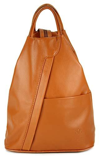 "Belli \""City Backpack leichte italienische Leder Damentasche Rucksack Handtasche in cognac - 29x32x11 cm (B x H x T)"