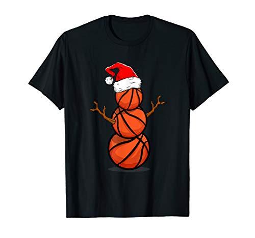 Lustiges Basketball Spieler Geschenk Schneemann Weihnachten T-Shirt