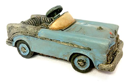 Popular Imports Miniature Antique Blue Pedal Car for Fairy Garden or Home Decor