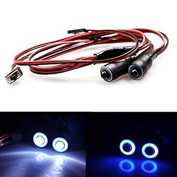 AXspeed 10mm 2Lights Engel Eyes & Demon Eyes Light Scheinwerfer Rücklicht für 1/10 RC Auto (Blau + Weiß)