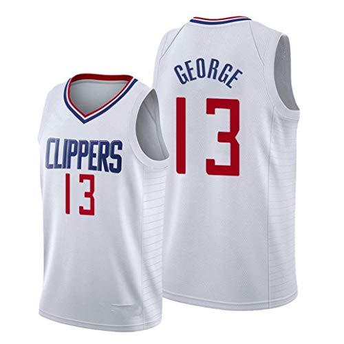 LINLIN Herren-Basketball-Jersey - # 13 George Los Angeles Clippers Trikots, Sportkleidung, Unisex Gestickte Mesh-Basketball Fans Ärmel Top,White-L