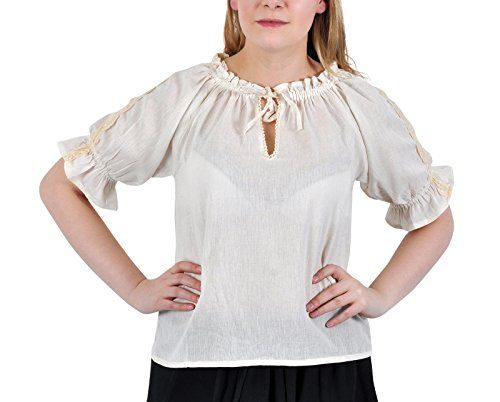 Elbenwald Bluse Mittelalter Damen Kurzarm mit Spitze Häkelborte Verstellbarer Ausschnitt Leichter Baumwolleollstoff Natur - XXXL