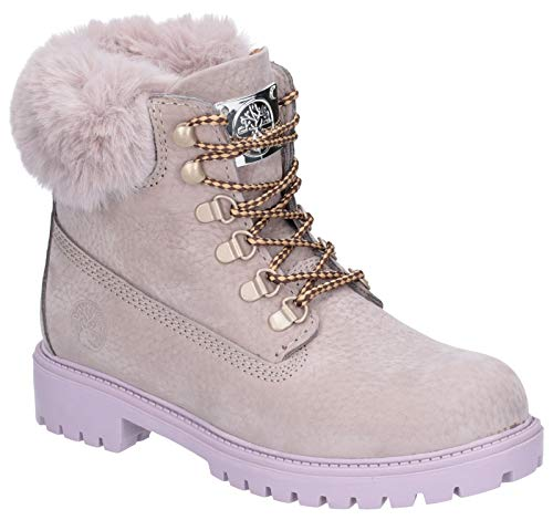 Darkwood Womens Larch Fur Trimmed Lace Up Casual Ankle Boots