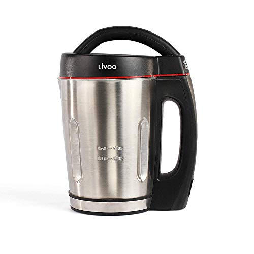 LIVOO DOP121 Appareil à Soupe Rapide 1.6L, Prêt en 25 minutes seulement | 3 Fonctions : Soupes Moulinées, Avec Morceaux, Mixeur/Nettoyage | Inox, 800 W