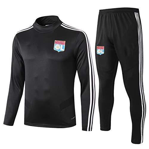 PARTAS Mens 2 Stück Sets Tracksuits Football Wear Verein Uniform Lyon Langarm-Trainingsanzug Lyon Wettbewerb Anzug (Size : L)