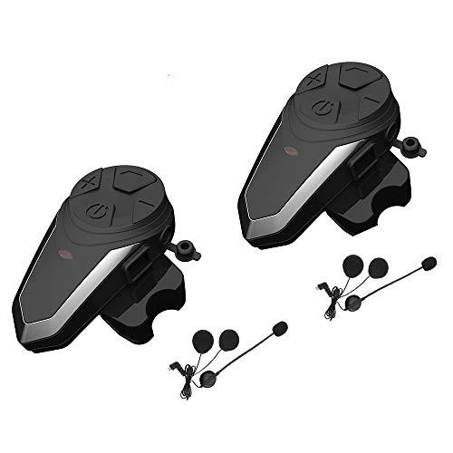 Motorcycle Bluetooth Intercom Communication System BT-S3 Interphone Moto Helmet Bluetooth Headset Wireless Intercom Headset (FM Radio/Waterproof/Handsfree/Range-1000M)