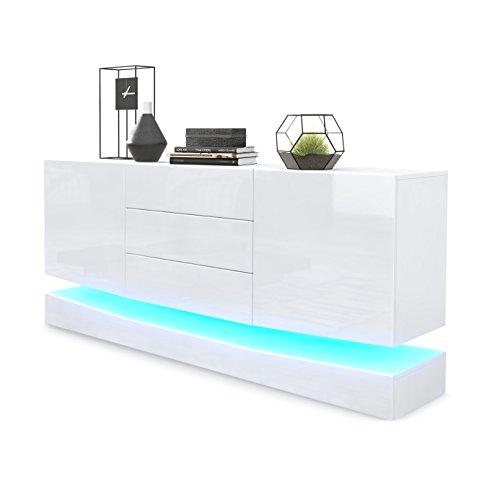 Vladon Buffet Armoire City, Corps en Blanc Mat/Façades en Blanc Haute Brillance avec éclairage LED