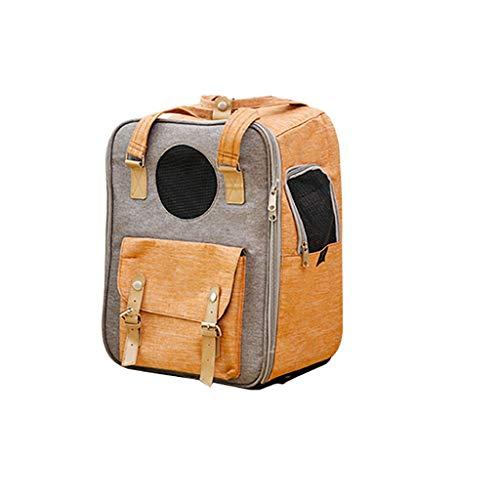 ZZL Mochila para mascotas para gatos y perros, bolsa de transporte transpirable, agujeros de malla multifunción, color retro, suministros de doble hombro cómodos (color: verde)
