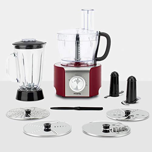 H.Koenig MX18 Standmixer / Küchenmixer / Glasbehälter / 8 Funktionen / 1.5 L / 800 W / rot