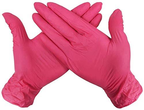 Midiao Skareop Einweghandschuhe Gummi Einweghandschuhe for Mechanics Automotive Reinigung oder Tattoo-Anwendungen Klein Groß Packung mit 100 (Rose Red)