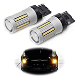 iJDMTOY (2) No Hyper Flash 24W High Power Amber 7440 W21W T20 LED Replacement Bulbs Compatible With Car Front...