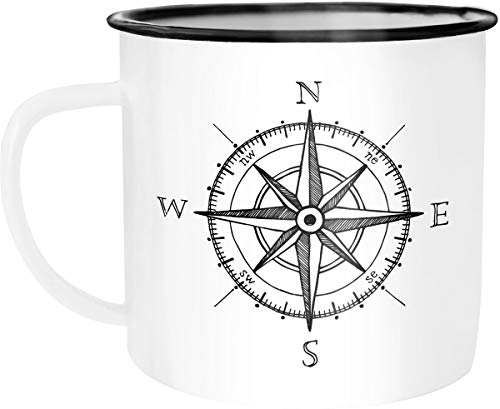 Moonworks Emaille Tasse Becher Kompass Windrose Abenteurer Campingbecher Kaffeetasse weiß-schwarz unisize