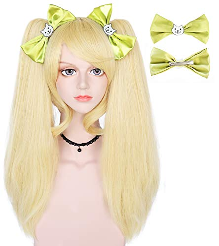 ANOGOL Blonde Wig+ {2 Green Bowknot Clips} for Women Long Straight Cosplay Wigs with Ponytails Synthetic for Anime