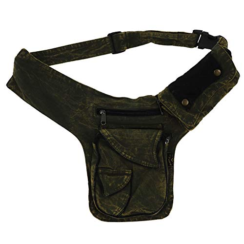 KUNST UND MAGIE Bauchtasche Sidebag Stonewashed Gürteltasche Festivaltasche Hippie Goa, Farbe:Army Green/Schwarz