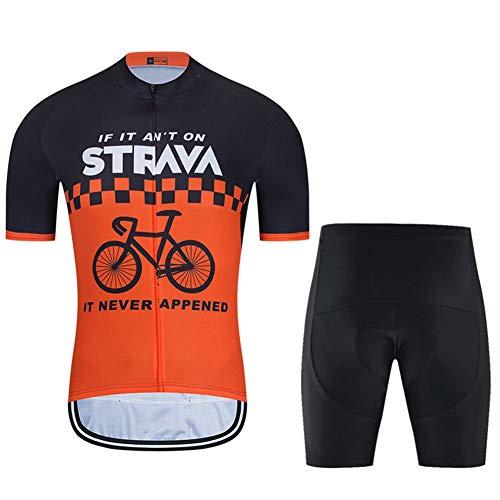 Sommer Herren Radfahren Jersey Kurzarm Racing Club Pro - Strava Road Fahrrad Outdoor Bike Jersey, Schnelle Trockenkompressionskombination (Color : B, Size : Medium)