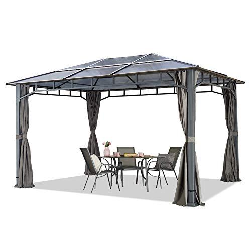 Cenador de jardín 3x4 m Aluminio Techo de policarbonato Aprox. 8mm cenador de jardín 4 Cortinas Laterales Color Gris