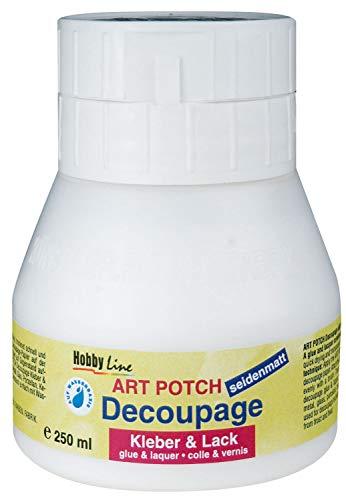 Kreul 48252 - Art Potch Decoupage Kleber und Lack seidenmatt, 250 ml, auf Wasserbasis, trocknet schnell und transparent