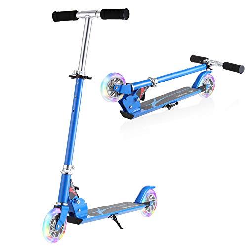 WeSkate Patinete Plegable 2 Ruedas para Niños de 4 a 10 Años Scooter Ajustable en 3 Niveles para Niñas y Niños, Carga Máxima de 50 kg (Azul)