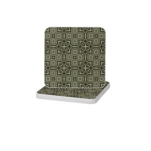 Posavasos cuadrados para bebidas, diseño étnico inspirado en África, verde salvia y topo, de cerámica absorbente de piedra posavasos para protección de mesa, juego de 2