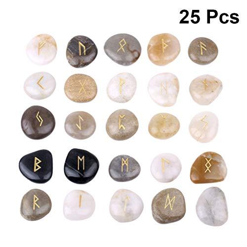 HEALIFTY Piedras de runas grabadas naturales Juegos de guijarros Adivinación de adivinación de piedras 25pcs