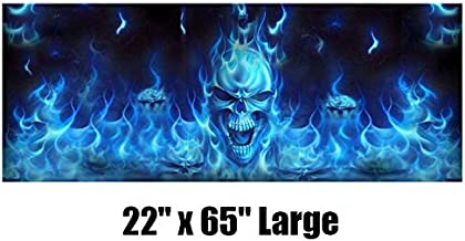 Took09 Car Rear Window Sticker Flaming Skull Rear Window Tint Graphic Decal Wrap Back Pickup Graphics 16556CM