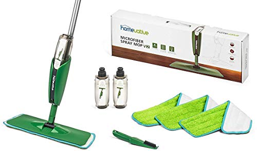 Price comparison product image Homevative Household Microfiber Spray Mop Kit / w 3 pads,  2 bottles,  and Precision Detailer. Floor push mop for Wood,  Laminate,  Tile and more. No need for buckets or other supplies.
